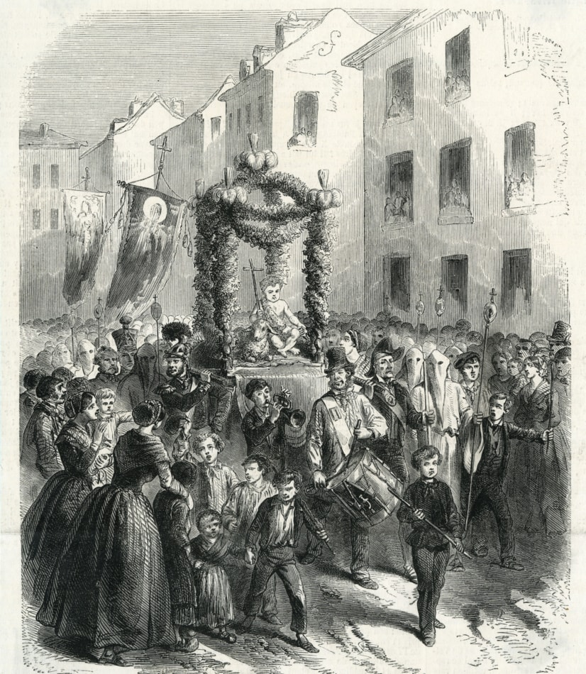 Painting of St Johns Eve celebration in France, 1858.