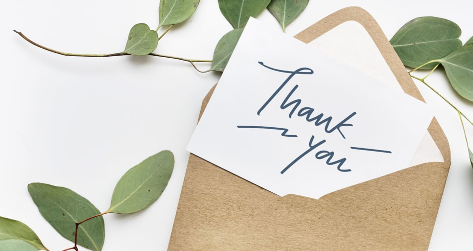 Envelope - Letter thank you note.