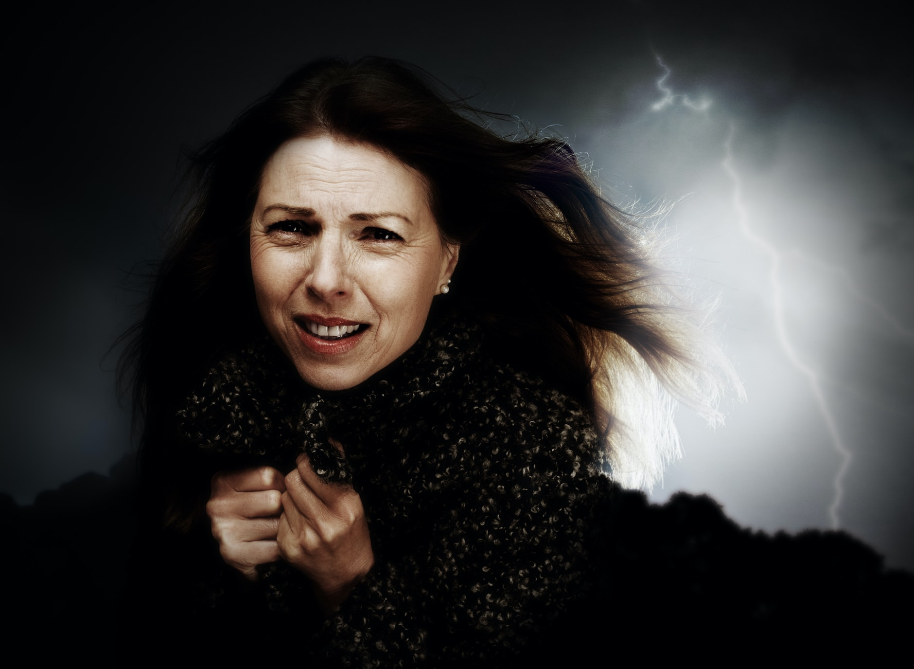 woman in thunder storm