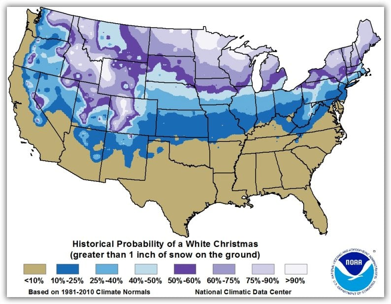 map of the historical probability of a white christmas