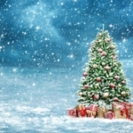 Christmas tree in snow illustration