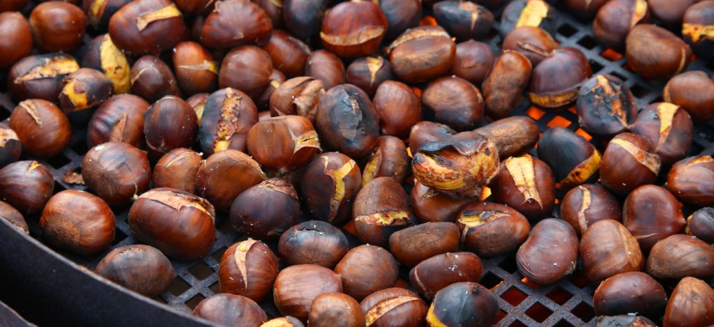 roasted chestnuts cooked over the red-hot grill