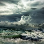 Angry sea and clouds.
