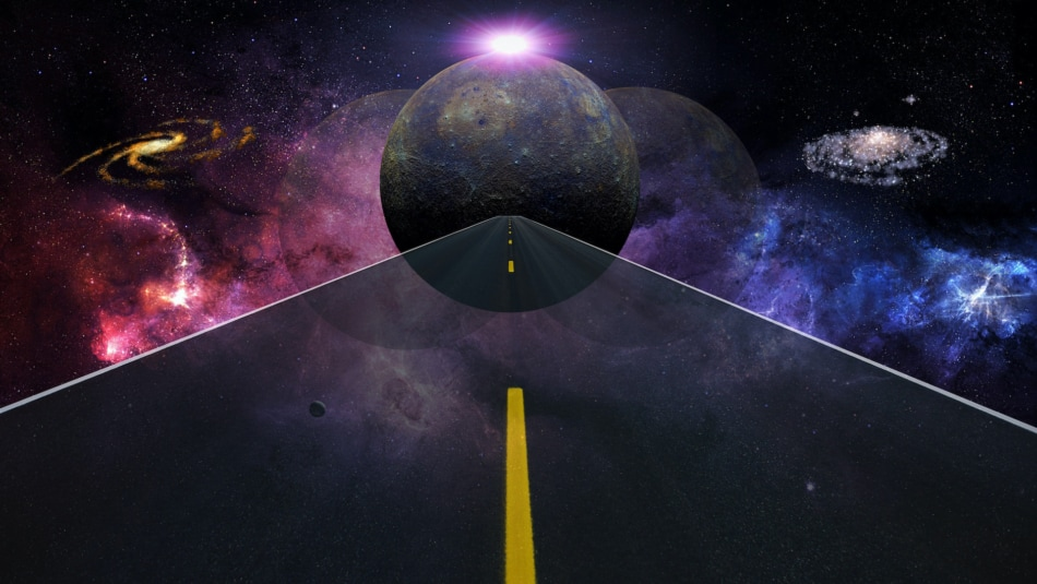 3D Illustration of the Planet Mercury shown above a highway.