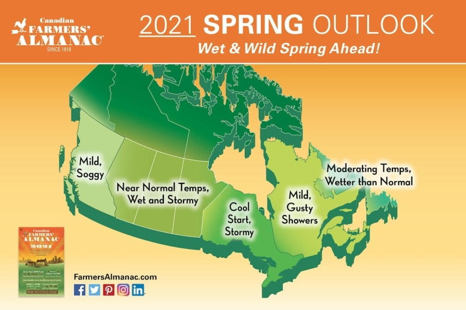 2021 Spring Outlook Map for Canada from the Farmers' Almanac.