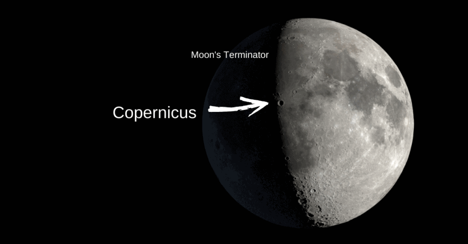 View of the Moon with the terminator and copernicus crater