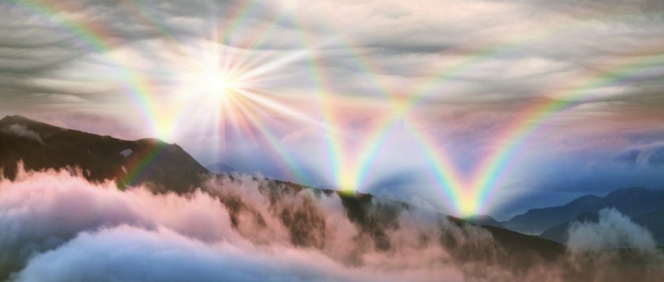 Multiple rainbows in the sky.