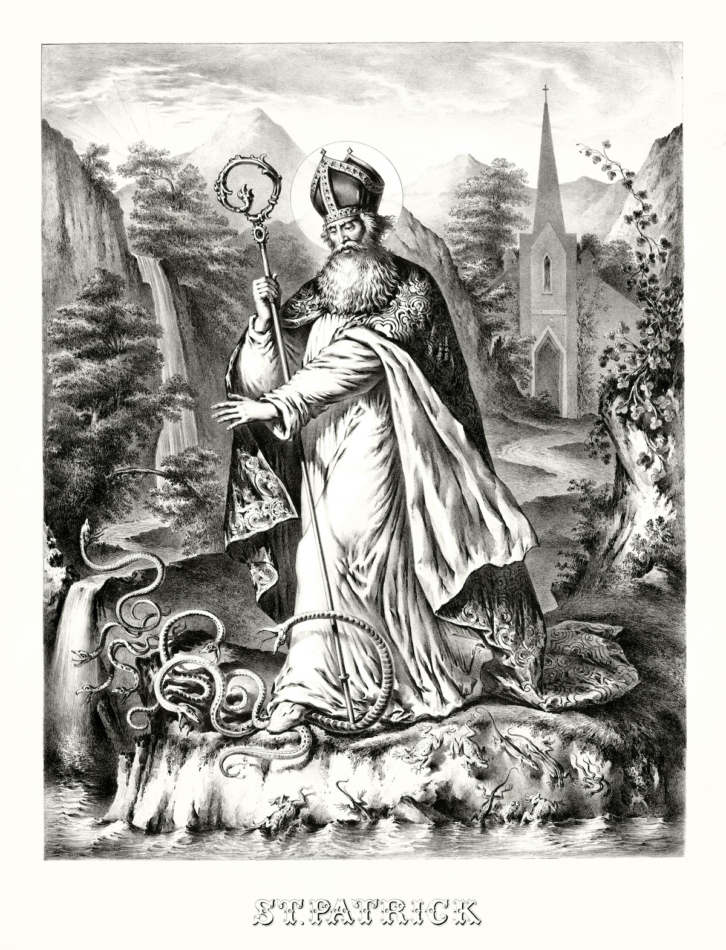 An old illustration depicting St. Patrick banishing snakes from Ireland.