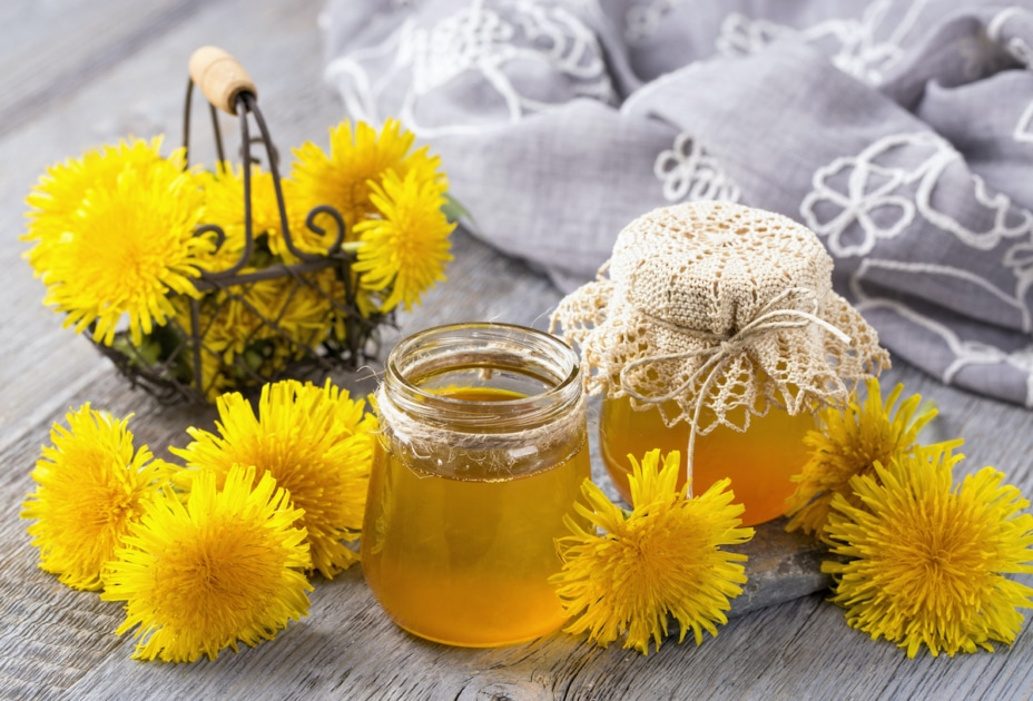 Dandelion jelly in a jar and fresh flowers