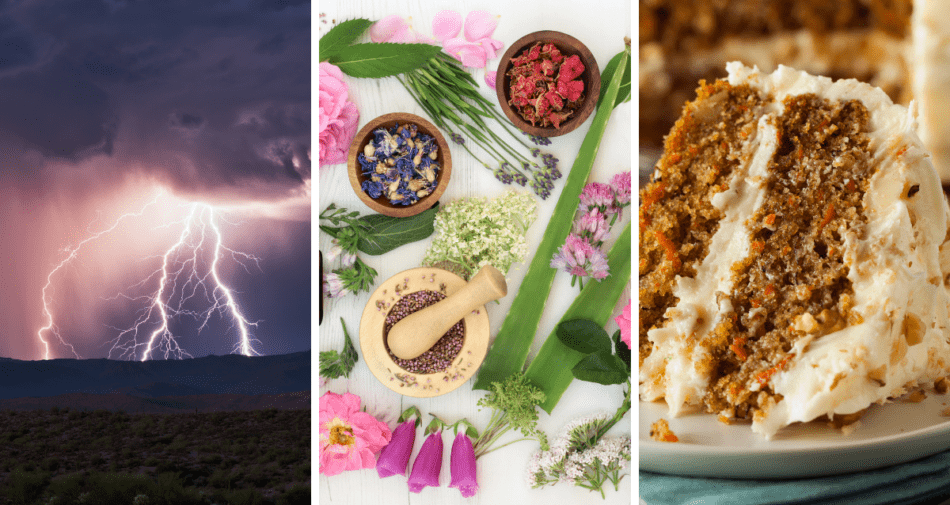 Collage of thunderstorms, spices and a cake.
