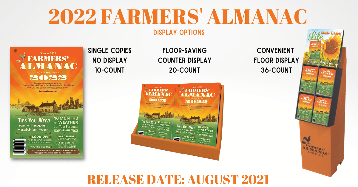 Variety of Display Stands for the Farmers' Almanac.