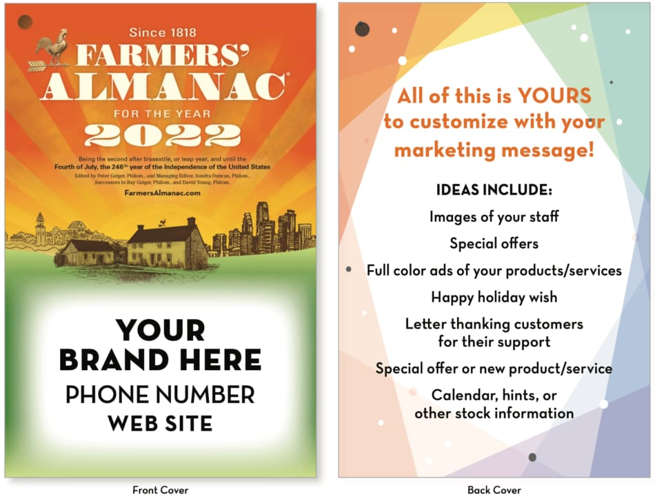 Promotional edition of the Farmers' Almanac example front and back cover.