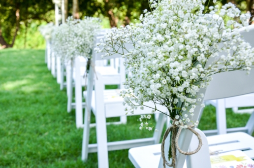 Baby's breath white flowers at wedding