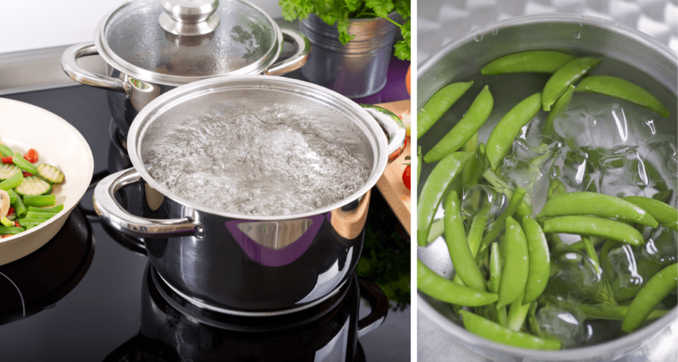 Boiling water for blanching pea pods, plunged in an ice bath