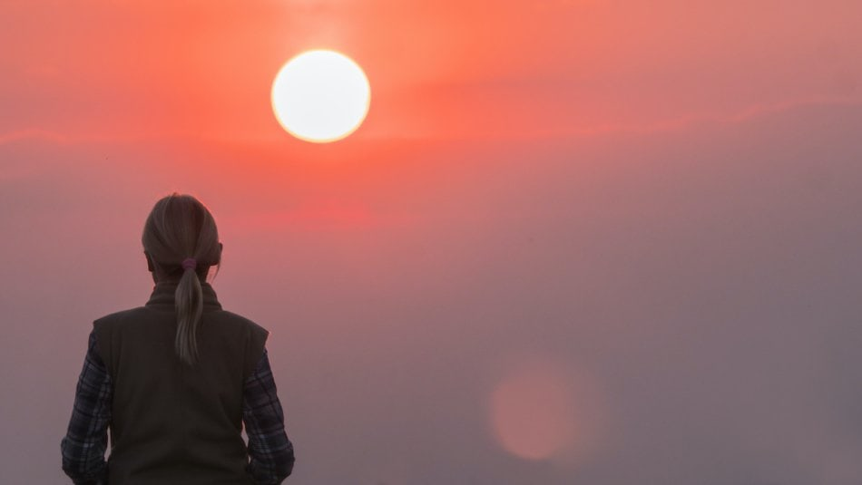 The lonely power of women against the pink sky and the large disk of the red sun.