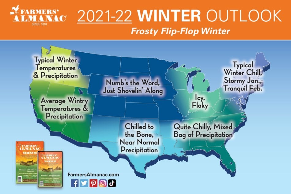 2022 US Farmers' Almanac Winter Forecast Map.