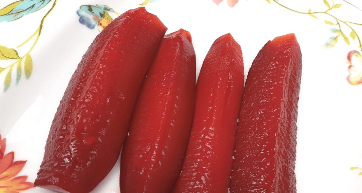 Kool-Aid pickles on a plate.