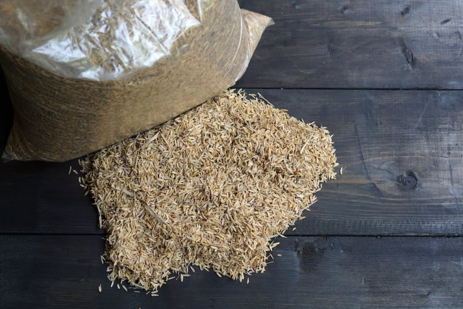 Pile of rice hulls gardeners can use instead of peat moss.