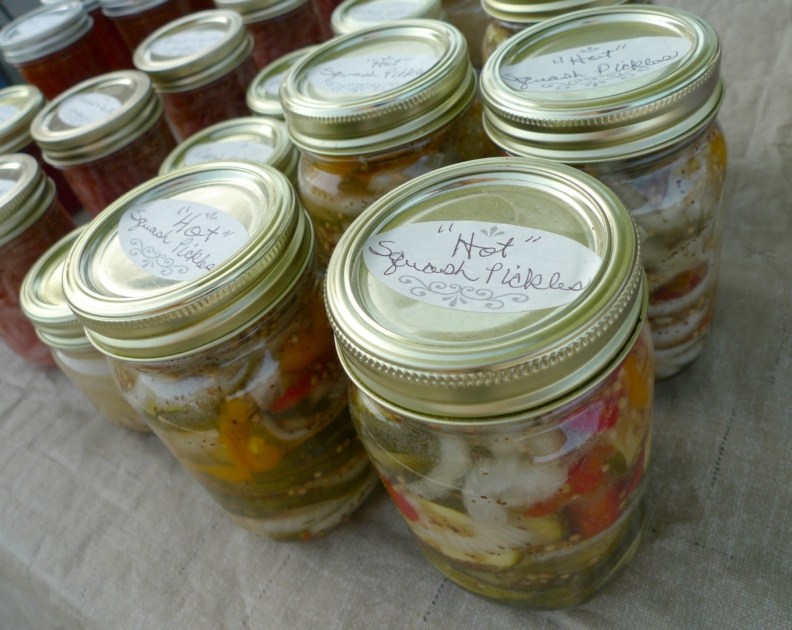 Hot Squash Pickles home made spicy canned pickles.