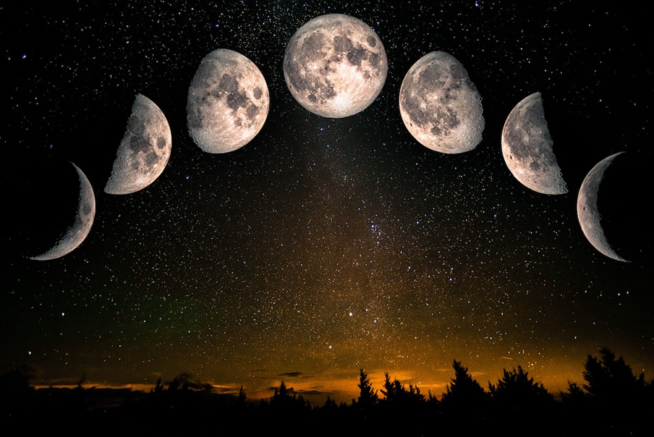 Phases of the Moon against a starry sky.