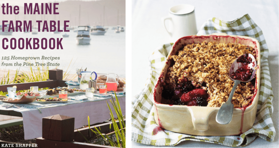 Maine Farm Table Cookbook and blackberry and apple crumble. Photography © 2021 Derek Bissonnette