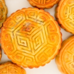 Chinese mooncakes top view arranged on a white plate