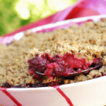 Blackberry and apple crumble.