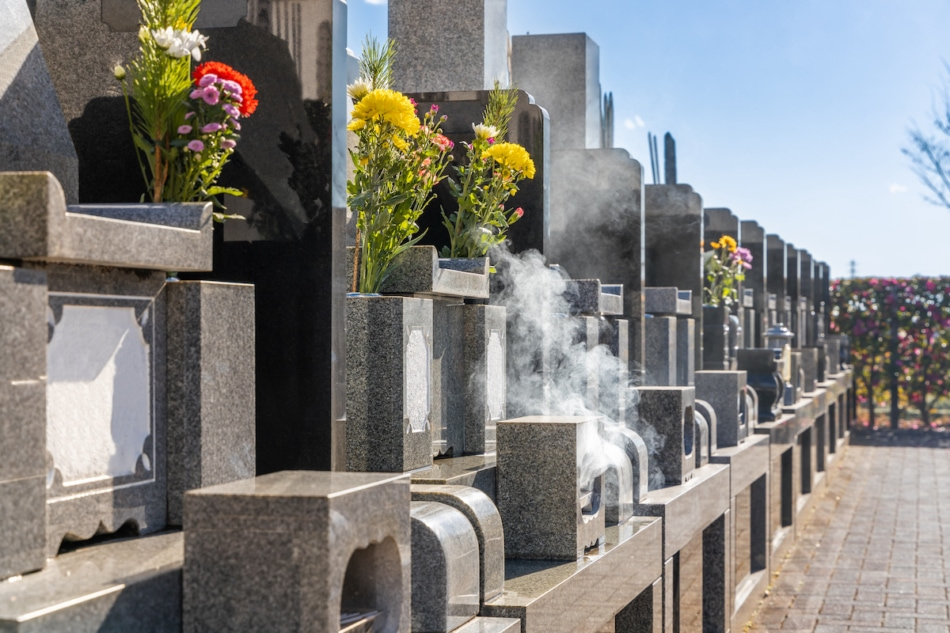 During Higan, people visit the graves of ancestors and loved ones, cleaning them and bringing decorations.