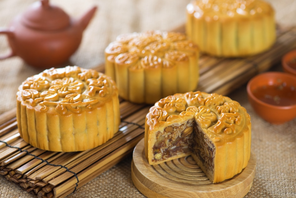 mooncakes on a plate.