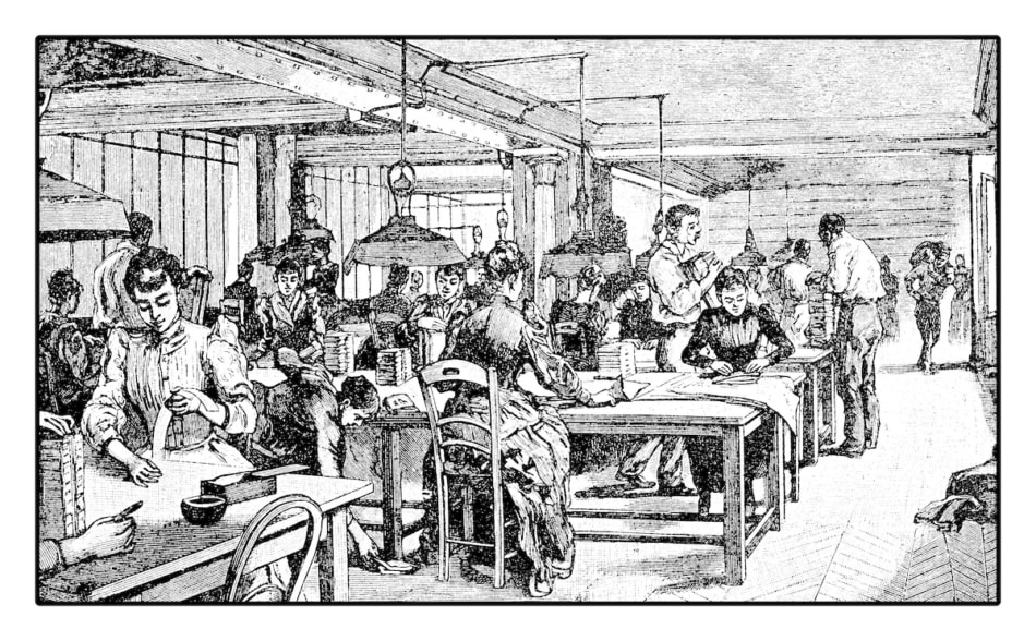 Women working in the shipping and delivery office of a newspaper